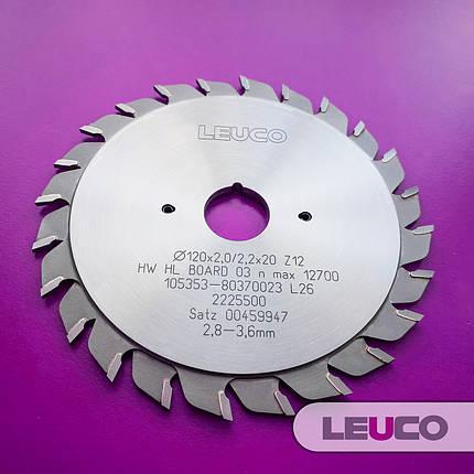 """120х2,8-3,6х2,2х22 z=12+12 Двокорпусні підрізні дискові пили Leuco з регулювальними кільцями, """"ES"""" зуб, фото 2"""