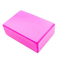 Йога-блок  (EVA 125 гр, р-р 23 x 15 x 7,5 см, розовый)