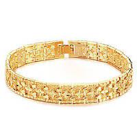 Позолоченный мужской браслет бижутерия Амаретто 153112 золотистый, 20.0 см