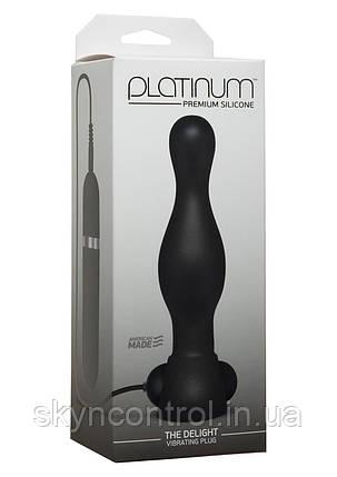 Doc Johnson - Platinum the Delight - анальная вибро пробка с пультом 16 см черный 10 функций вибрацииАнальный , фото 2
