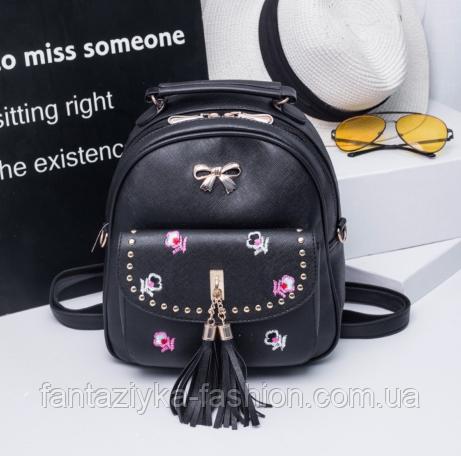 Городской рюкзак с вышивкой черный