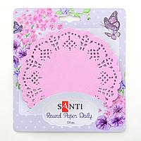 Набор салфеток ажурных круглых, цвет розовый, диаметр 11,4  см, 12 шт.