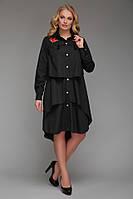 Платье-рубашка Троя - черный: 52-54, 56-58