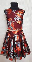 Платье для девочки Тая р.128-146 черный+оранж