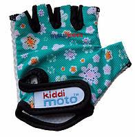 Детские спортивные перчатки Kiddi Moto Fleur 4-7 года (размер М, синий с цветами) ТМ Kiddi Moto CLO-65-23