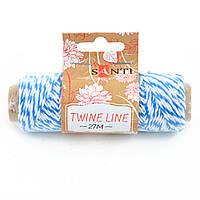 Шнур двухцветный декоративный,  цвет бело-голубой, 27 м.