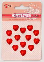 Набор жемчужин самоклеющихся сердечки красные, 13 шт