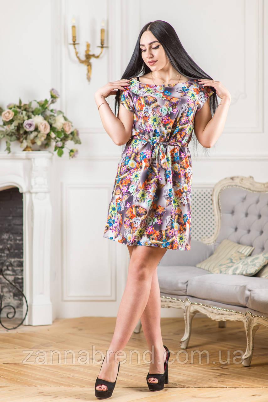 611bf5de9f7 Модное летнее платье с цветочным принтом и поясом