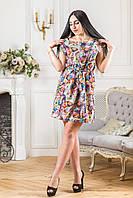 """Модное летнее платье с цветочным принтом и поясом """"Весенняя пора"""" Zanna Brend, фото 1"""