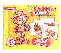 Набор детских карточек Дикие животные, 15 шт в наборе (укр)