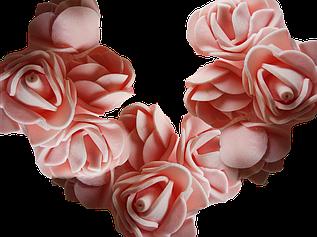 Головка розочки из фоамирана 3 см персиковая