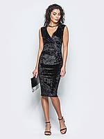 Изысканное женское велюровое платье с V-вырезом 90250/3, фото 1