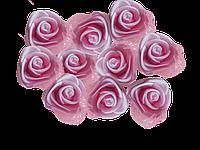 Головки розочек из фоамирана 3 см розовые с фатином