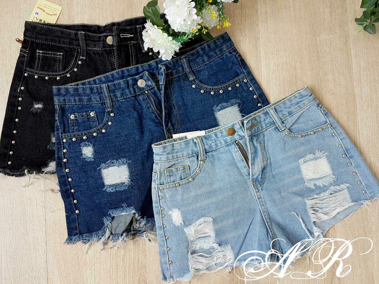Шорти джинсові висока посадка прикрашені камінням