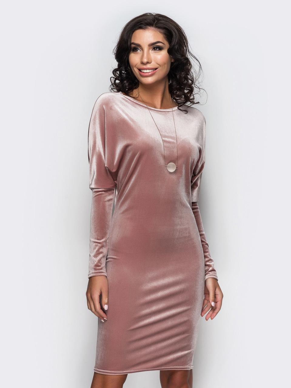 Изысканное женское велюровое платье-мышь с длинными рукавами 90251 1 -  Модный Оазис в 1e6d5b461e3