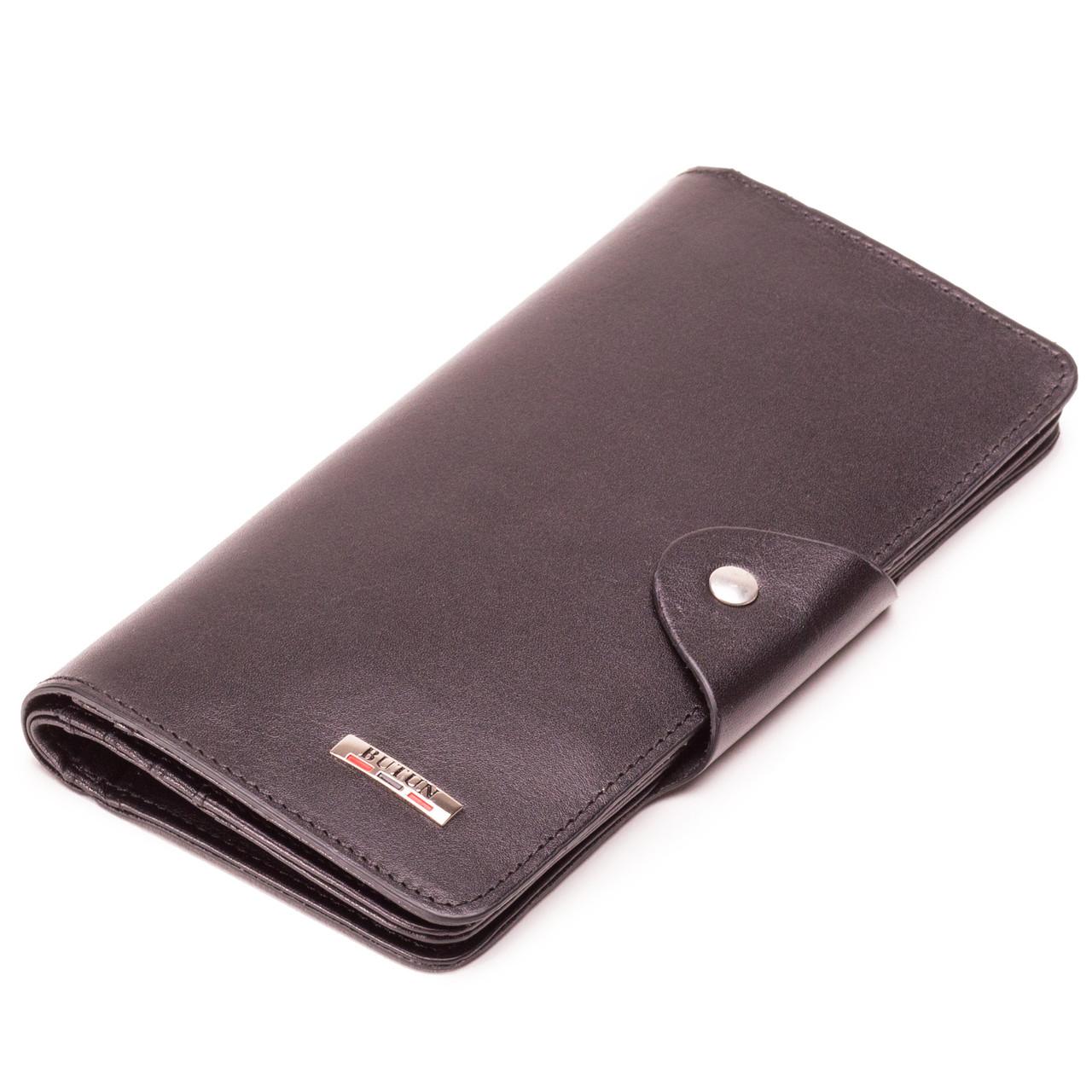 Мужской кошелек бумажник кожаный черный BUTUN 645-024-001