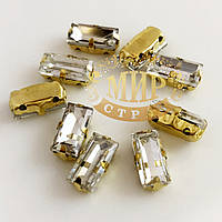 Пришивной прямоугольник в золотых цапах, 5x10 мм, Crystal