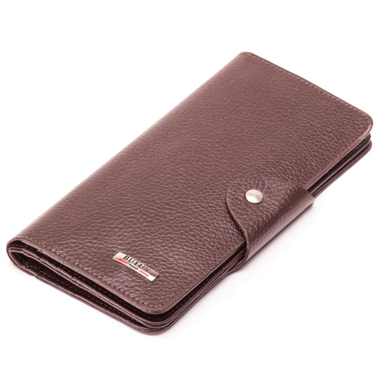 Мужской кошелек бумажник кожаный коричневый BUTUN 645-004-004