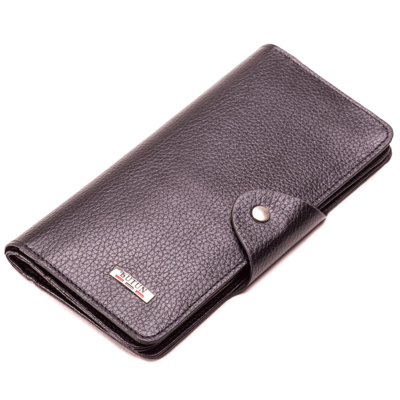 Мужской кошелек бумажник кожаный черный BUTUN 645-004-001