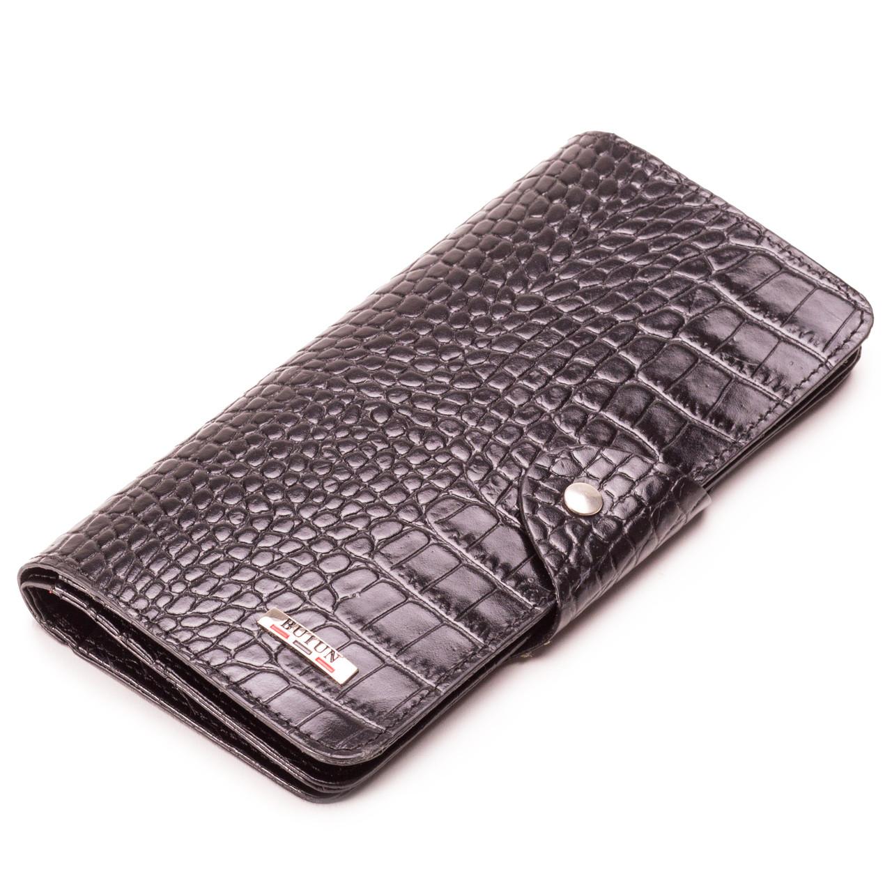 Мужской кошелек бумажник кожаный черный BUTUN 645-002-001