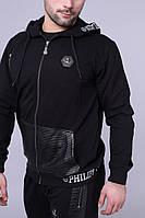 Спортивный чёрный костюм на молнии Philipp Plein с капюшоном, фото 1