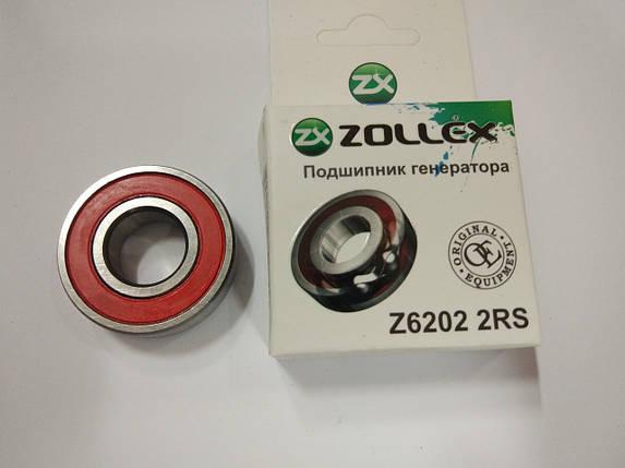 Подшипник генератора ZOLLEX (2110) Z6 202 2RS, фото 2