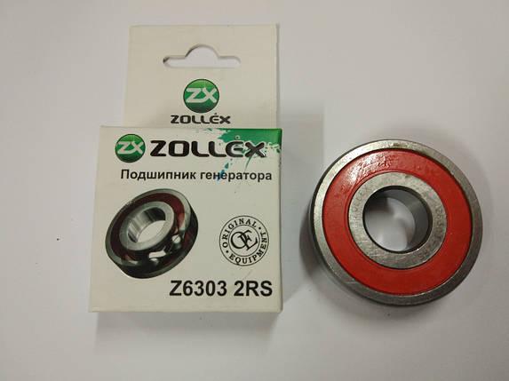 Подшипник генератора ZOLLEX (2110) Z6 303 2RS, фото 2