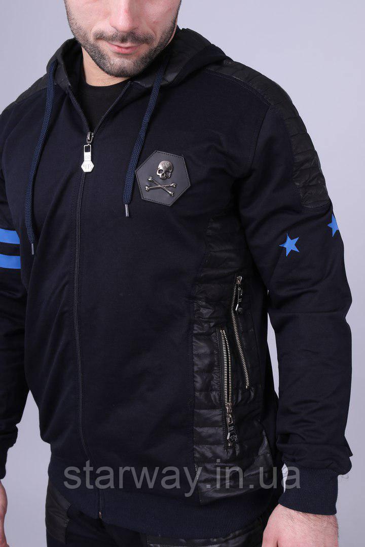 Спортивный чёрный костюм на молнии Philipp Plein с капюшоном   Звёзды