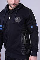 Спортивный чёрный костюм на молнии Philipp Plein с капюшоном   Звёзды, фото 1