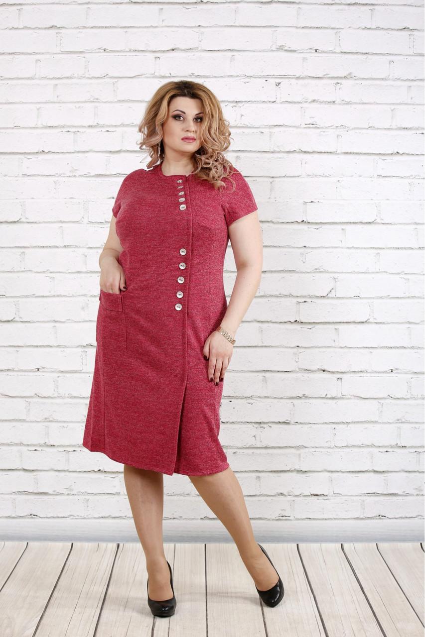 Женское платье с люриксом малинового цвета 0781 / размер 42-74