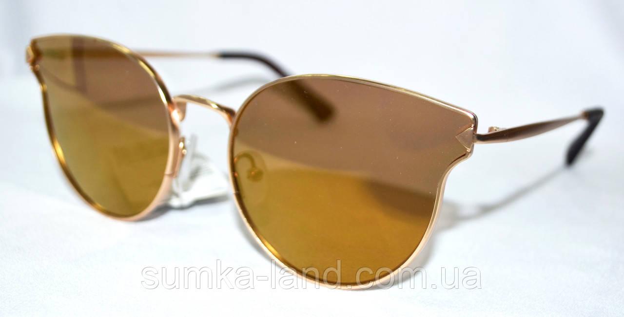 Женские солнцезащитные рыжие очки Kaidi в золотой оправе