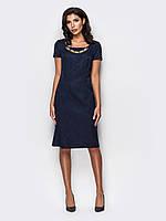 Стильное полуприталенное платье из жаккарда 90256, фото 1