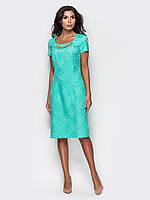 Стильное полуприталенное платье из жаккарда 90256/2, фото 1