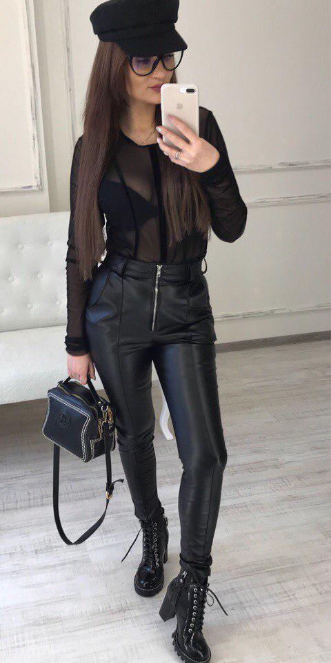 8989dda594413 Женские кожаные брюки-лосины с карманами - PARADISE ...с нами модно в