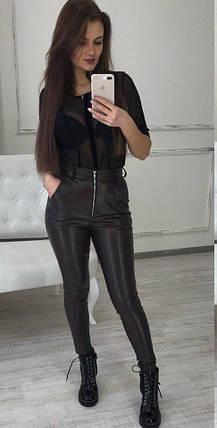 09977cebcdf28 Купить Женские кожаные брюки-лосины с карманами от надежного ...