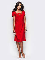 Стильное полуприталенное платье из жаккарда 90256/1, фото 1