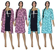 Комплект домашний женский 02108 Kolibri, ночная рубашка и теплый халат, р.р.42-56, фото 1