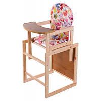 """Дерев'яний стільчик дитячий стілець для годування """"День народження"""""""