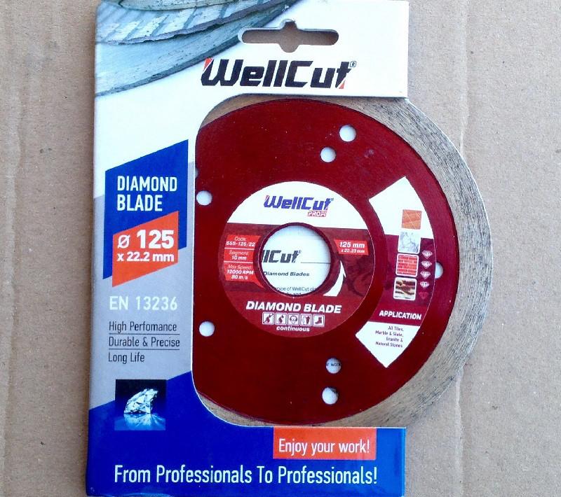 Алмазный диск 125 по плитке WellCut Profi с лазерными отверстиями