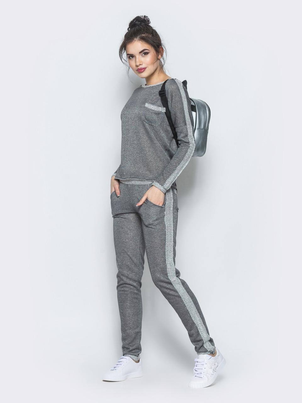 5a63c6b85b7a5 Темно-серый спортивный костюм из трикотажа - Стильная женская одежда оптом и  в розницу ТМ