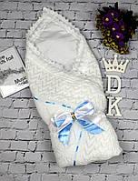 """Летний конверт-плед """"Аист"""" с нарядным бантом для мальчика. Белый с голубой лентой, фото 1"""
