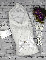 """Летний конверт-плед """"Аист"""" с нарядным бантом для младенцев. Белый с серебреной лентой, фото 1"""