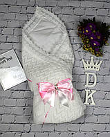 """Летний конверт-плед """"Аист"""" с нарядным бантом для девочки. Белый с розовой лентой, фото 1"""