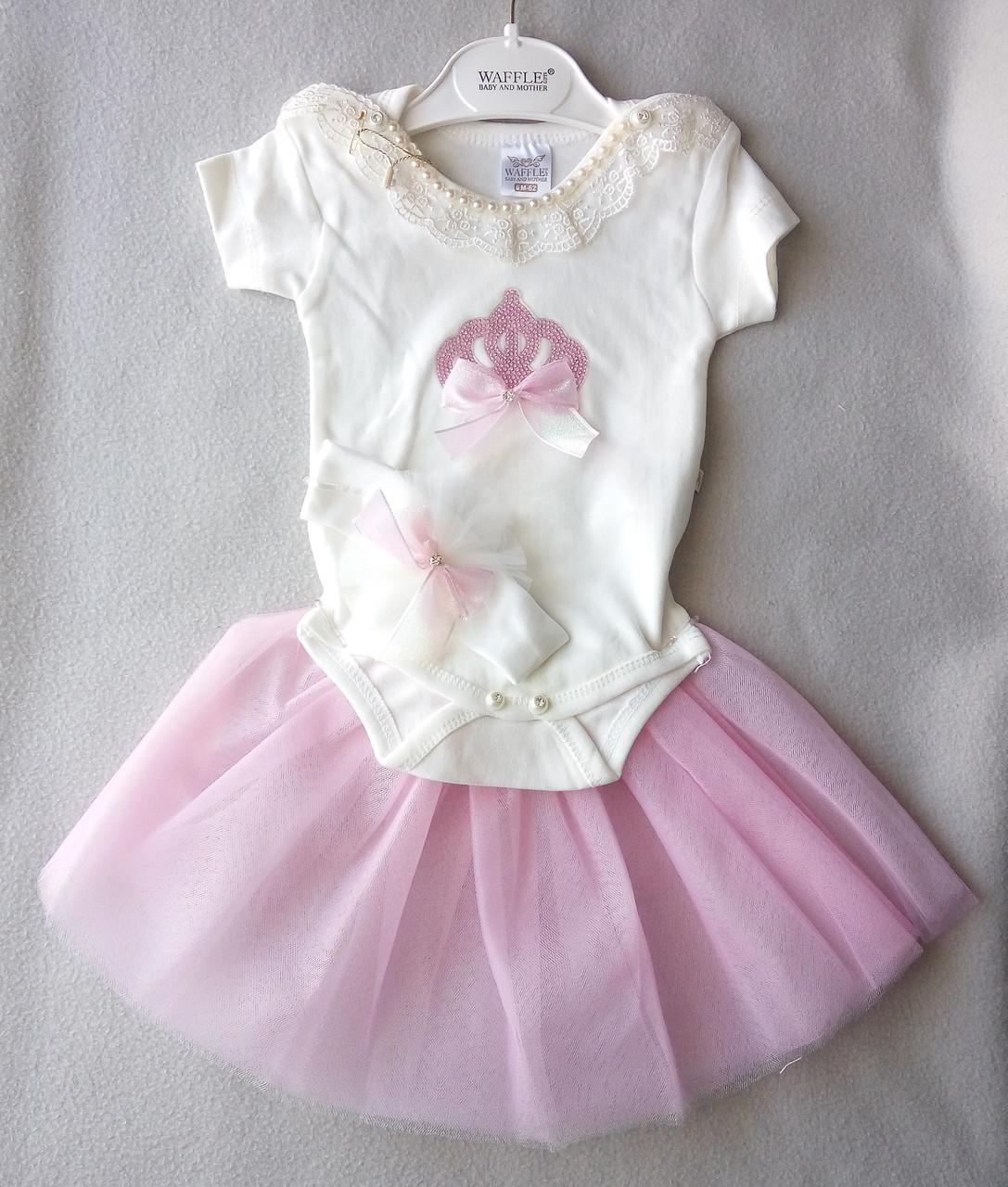 Нарядный костюм с боди для новорожденных, на девочек 0-6 месяцев