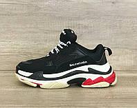 Мужские кроссовки-сникеры Balenciaga Triple S (Баленсиага Трипл С) Черные/белые/красные
