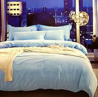 Голубое светлое постельное белье сатин евро 40 Prestij Textile