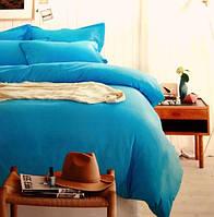 Ярко-голубое постельное белье сатин евро 40 Prestij Textile