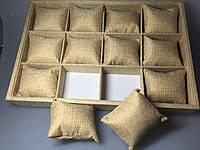 """Планшет ювелирный """"Ячейки с подушками плетёнка 35 х 24 х 5 см"""""""