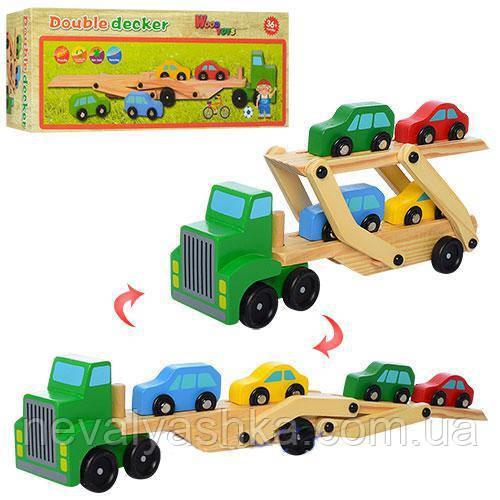 Деревянная игрушка Трейлер Машинки Деревянная машинка, MD 0924, 007817
