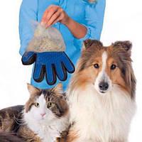 Перчатка для вычесывания шерсти собак кошек trueTouch животных тру тач